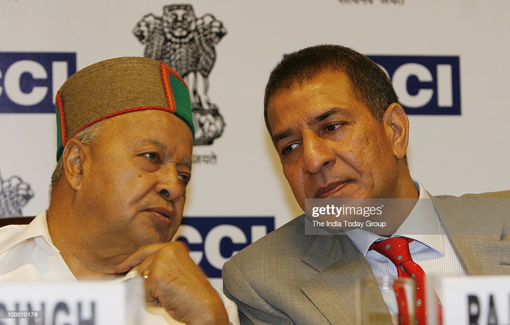 Rajan Bharti Mittal president of FICCI and Virbhadra Singh Union Minister of Steel during the conference on Challenges for Indian Steel Industry in infrastructure and Resources in New Delhi.