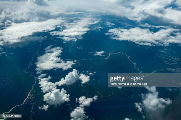 Rajang River in Sarawak on the island of Borneo in Malaysia daytime aerial view from airplane