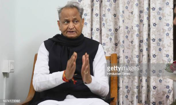 Rajasthan Chief Minister Designate Ashok Gehlot during an interview on December 16 2018 in Jaipur India Congress leaders Gehlot and Sachin Pilot...