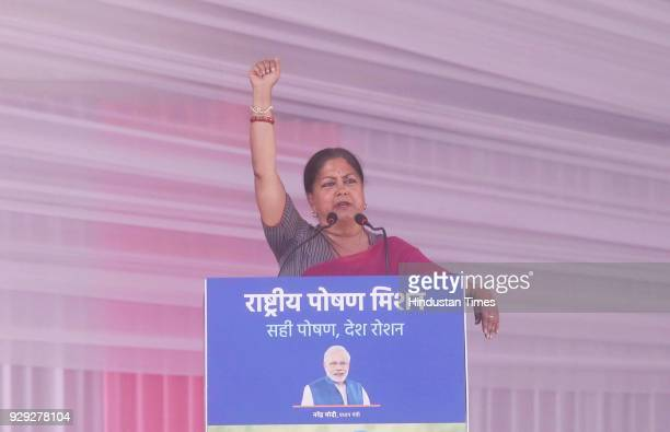 Rajasthan Chief Minister Vasundhara Raje addresses at a public rally at the launch of National Nutrition Mission on March 8 2018 in Jhunjhunu India...