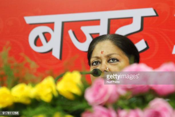 Rajasthan Chief Minister Vasundhara Raje addressing media person after presenting state budget 201819 at Rajasthan Assembly in Jaipur Rajasthan India...