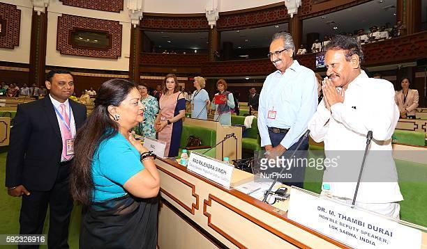Rajasthan Chief Minister Vasundhara Raje greets with Lok Sabha Deputy Speaker M Thambi Durai during Meeting of BRICS Women Parliamentarians Forum'...