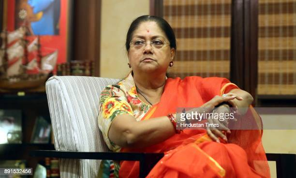 Rajasthan Chief Minister Vasundhara Raje interacts with Hindustan Times at CMO on December 12 2017 in Jaipur India