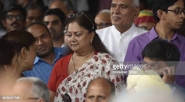 Rajasthan chief Minister Vasundhara Raje Scindia after the Newly president Ramnath Kovind Oath ceremony at Parliament House on July 25 2017 in New...