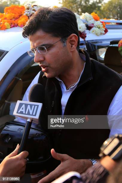 Rajasthan Congress Chief Sachin Pilot addresses the media after party's victory in byelections in Ajmer Rajasthan India on 1st February 2018 Congress...