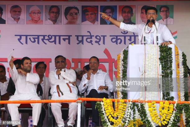 Rajasthan Congress President Sachin Pilot speaks during the 'Kisan Akrosh Rally ' at Banswara in Rajasthan on 19th July2017
