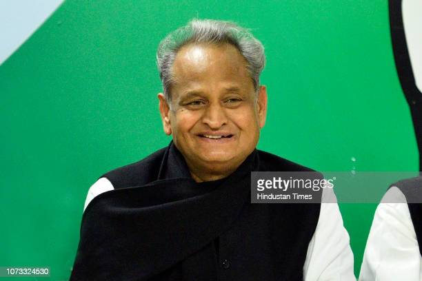 Rajasthan former Chief Minister Ashok Gehlot during a press conference at AICC headquarters on December 14 2018 in New Delhi India The Congress named...