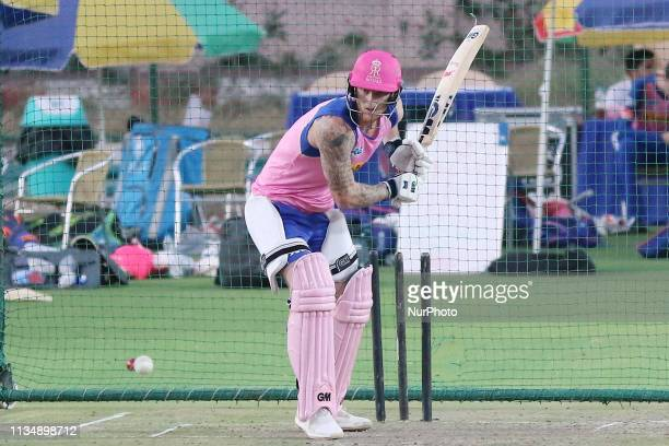 Rajasthan Royals batsman Ben Stokes during the practice session ahead the Indian Premier league IPL 2019 match against Kolkata Knight Riders in...