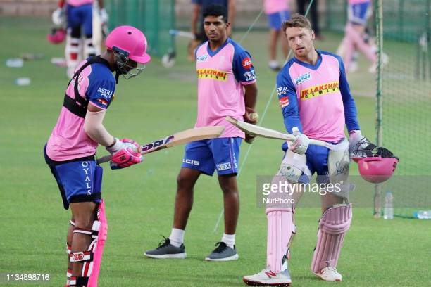 Rajasthan Royals batsman Jos Butler during the practice session ahead the Indian Premier league IPL 2019 match against Kolkata Knight Riders in...