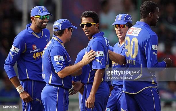 Rajasthan Royals Bowler Ankeet Chavan celebrates the wicket of Delhi Daredevils batsman Kevin Pieterson with teammates during the IPL Twenty20...