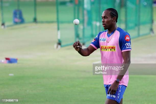 Rajasthan Royals bowler Jofra Archer toss a ball during the practice session ahead the Indian Premier league IPL 2019 match against Kolkata Knight...