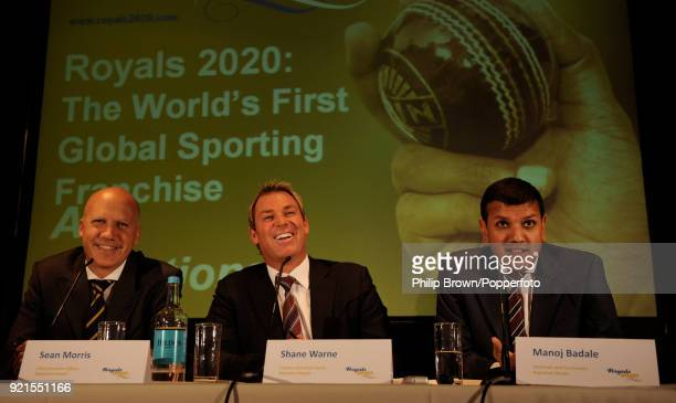 Rajasthan Royals captain Shane Warne chief executive officer Sean Morris and chairman Manoj Badale talk to the press as they announce the creation of...
