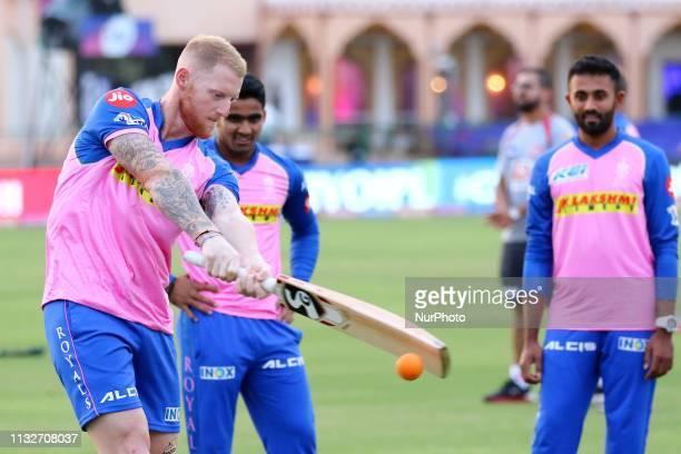 Rajasthan Royals player Ben Stokes during the practice session ahead the IPL match against Kings XI Punjab at Sawai Mansingh Stadium in Jaipur,...