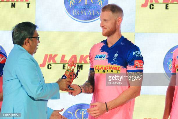 Rajasthan Royals player Ben Strokes during the team jersey unveiled ceremony ahead the IPL 2019 matches in Jaipur Rajasthan India on March 222019