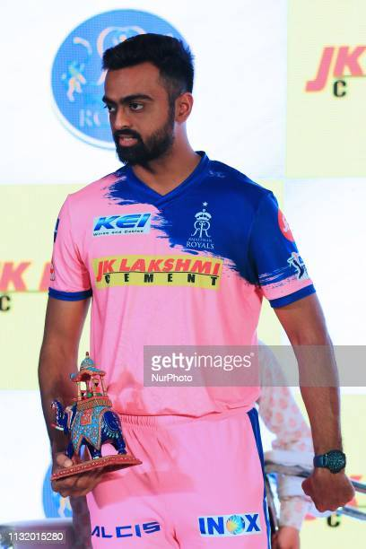 Rajasthan Royals player Jaydev Unadkat during the team jersey unveiled ceremony ahead the IPL 2019 matches in Jaipur Rajasthan India on March 222019