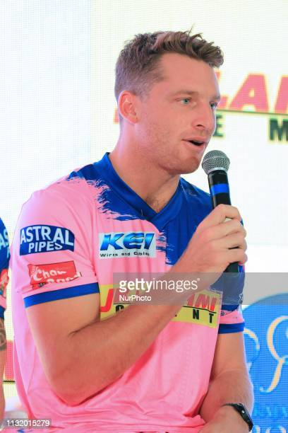 Rajasthan Royals player Jos Butler addressing the media person during the team jersey unveiled ceremony ahead the IPL 2019 matches in Jaipur...