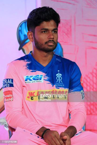 Rajasthan Royals player Sanju Samson addressing the media person during the team jersey unveiled ceremony ahead the IPL 2019 matches in Jaipur...