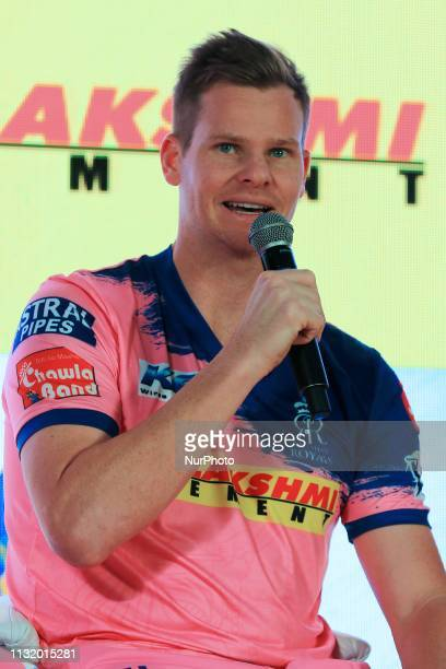 Rajasthan Royals player Steve Smith addressing the media person during the team jersey unveiled ceremony ahead the IPL 2019 matches in Jaipur...