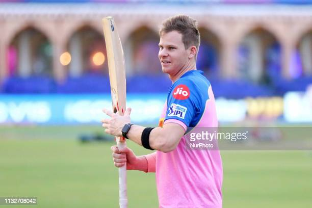 Rajasthan Royals player Steve Smith during the practice session ahead the IPL match against Kings XI Punjab at Sawai Mansingh Stadium in Jaipur ,...