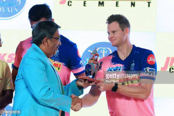 Rajasthan Royals player Steve Smith during the team jersey unveiled ceremony ahead the IPL 2019 matches in Jaipur Rajasthan India on March 222019