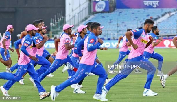 Rajasthan Royals players during the practice session ahead the IPL match against Kings XI Punjab at Sawai Mansingh Stadium in Jaipur, Rajasthan,...