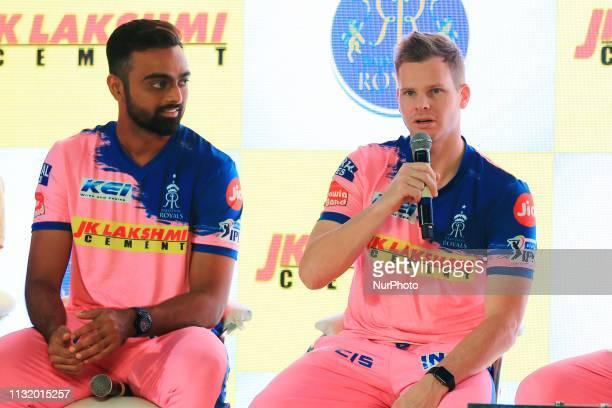 Rajasthan Royals players Jaydev Unadkat and Steve Smith addressing the media person during the team jersey unveiled ceremony ahead the IPL 2019...