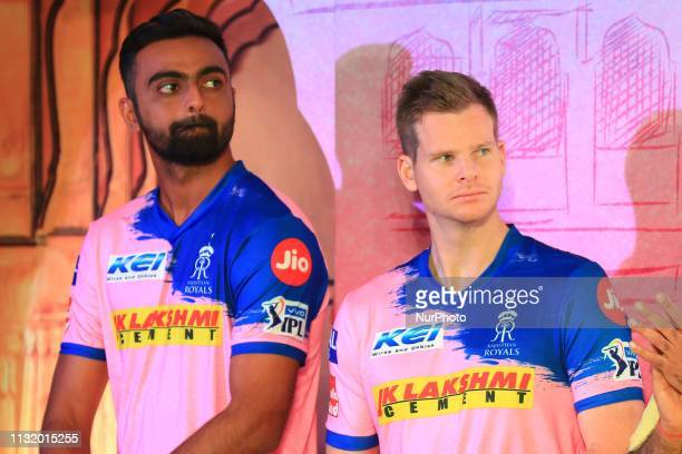 Rajasthan Royals players Jaydev Unadkat and Steve Smith during the team jersey unveiled ceremony ahead the IPL 2019 matches in Jaipur Rajasthan India...