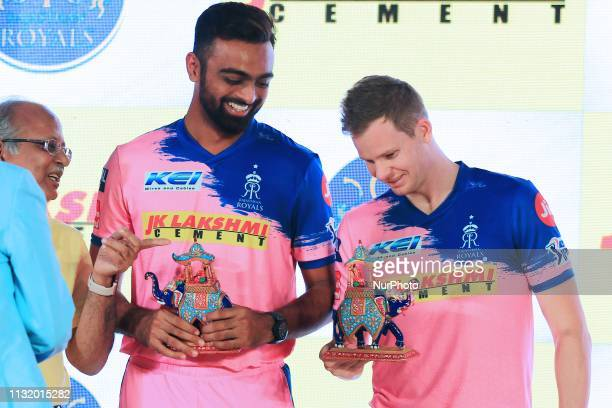 Rajasthan Royals players Jaydev Unadkat Steve Smith during the team jersey unveiled ceremony ahead the IPL 2019 matches in Jaipur Rajasthan India on...