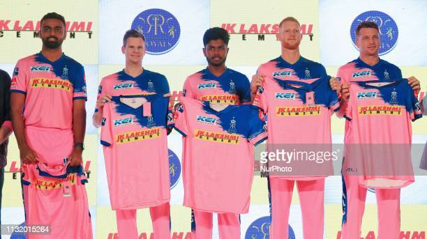 Rajasthan Royals players Jaydev Unadkat Steve Smith Sanju Samson Ben Strokes and Jos Butler during the team jersey unveiled ceremony ahead the IPL...