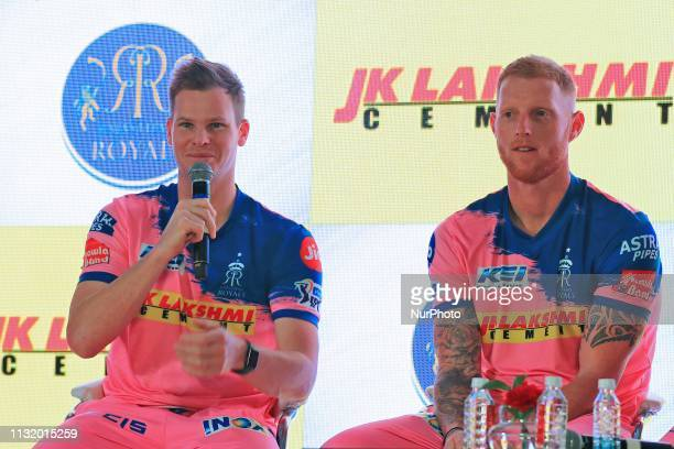 Rajasthan Royals players Steve Smith and Ben Strokes addressing the media person during the team jersey unveiled ceremony ahead the IPL 2019 matches...