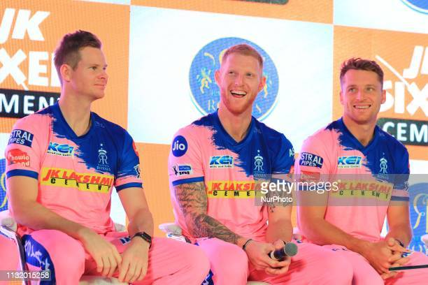 Rajasthan Royals players Steve Smith Ben Strokes and Jos Butler addressing the media person during the team jersey unveiled ceremony ahead the IPL...