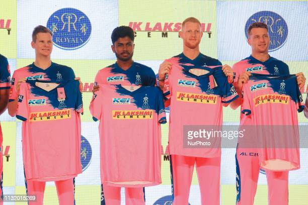 Rajasthan Royals players Steve Smith Sanju Samson Ben Strokes and Jos Butler during the team jersey unveiled ceremony ahead the IPL 2019 matches in...