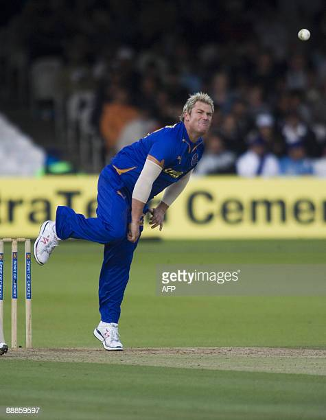 Rajasthan Royals Shane Warne bowls against Middlesex Panthers during the Twenty Twenty British Asian Challenge at Lords cricket ground in London on...