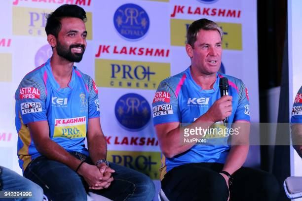 Rajasthan Royals team captain Ajinkya Rahane and Mentor Shane Warne during the unveiling of Rajasthan Royals team jersey for the IPL2018 T20 matches...
