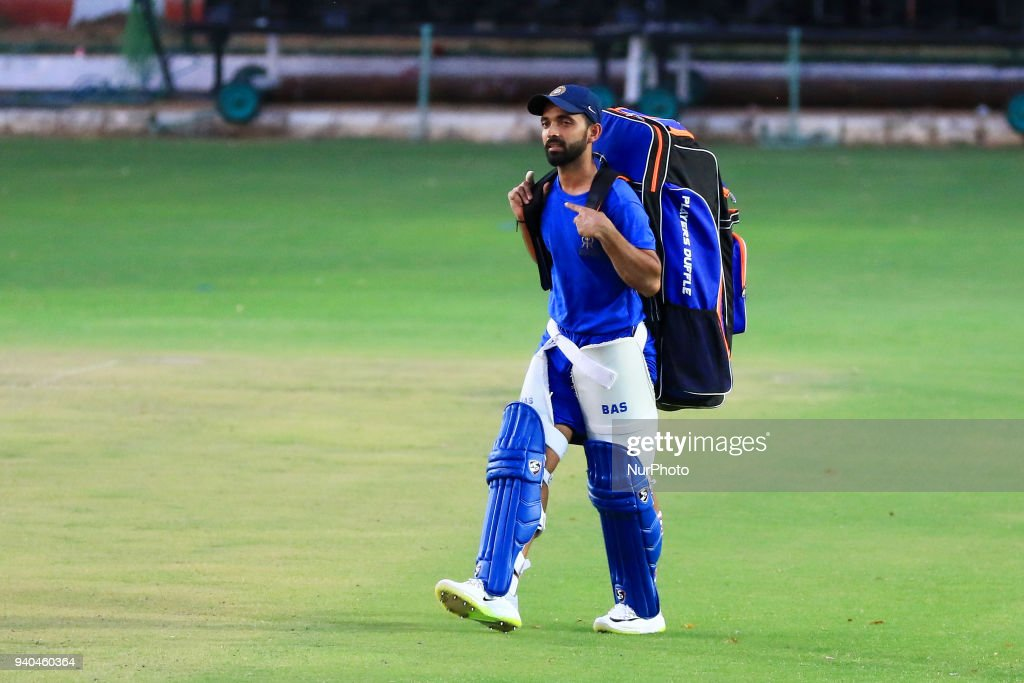 Rajasthan Royals team captain Ajinkya Rahane during the practice session ahead the Indian Premier League IPL 2018 cricket matches tournament at Sawai Mansingh Stadium in Jaipur, Rajasthan, India on 31 Mar,2018. Ajinkya Rahane is new captain of Rajasthan Royals after Australian cricket team Batsman Steve Smith ban from IPL 2018 due to a ball tampering scandal against South Africa.