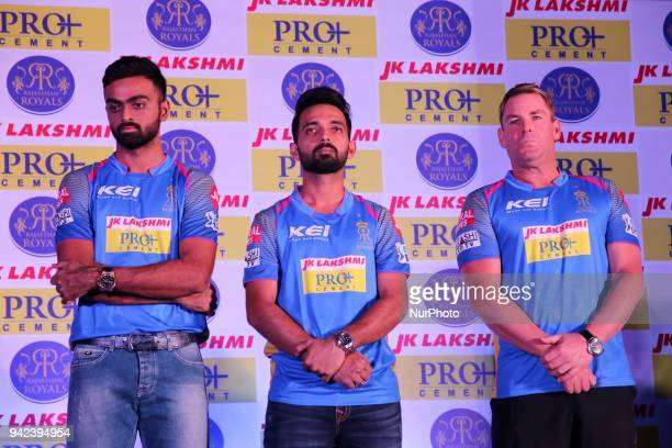 Rajasthan Royals team captain Ajinkya Rahane Mentor Shane Warne and Pacer Jaydev Unadkat during the unveiling of Rajasthan Royals team jersey for the...