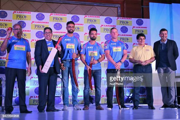 Rajasthan Royals team captain Ajinkya Rahane Mentor Shane Warne and Pacer Jaydev Unadkat with others during the unveiling of Rajasthan Royals team...