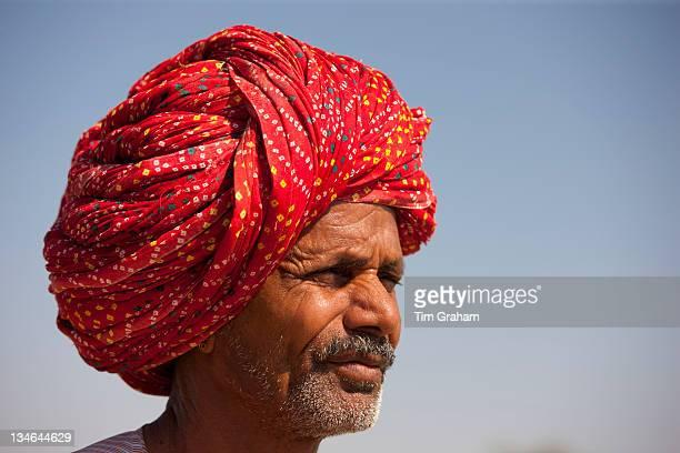 Rajasthani farmer with traditional Rajasthani turban at Nimaj Rajasthan Northern India