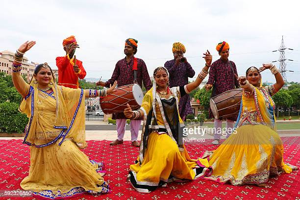 Rajasthani folk artists dance while delegations and chief guest arrive to attend BRICS 2016 Women Parliamentarians Meeting at Rajasthan Assembly in...