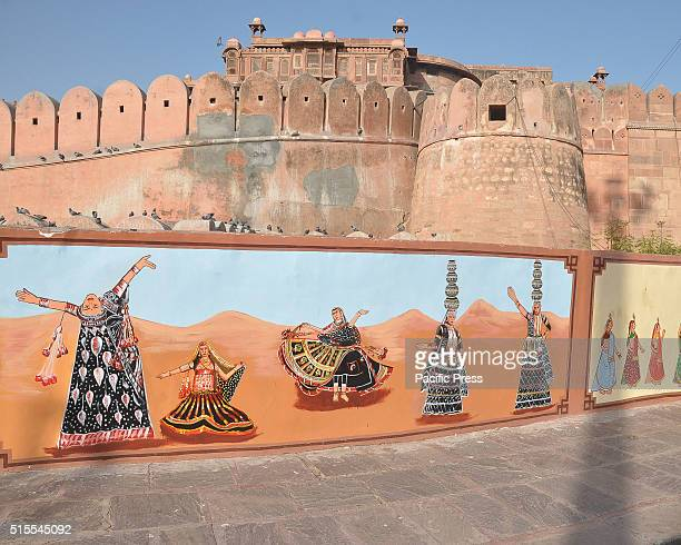 Rajasthani paintings outside of junagarh fort to promote tourism in Bikaner