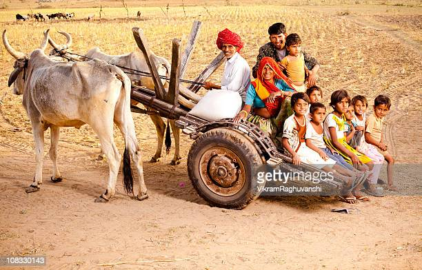 Rajasthani Rural Family enjoying a Bullock Cart Ride in Rajasthan