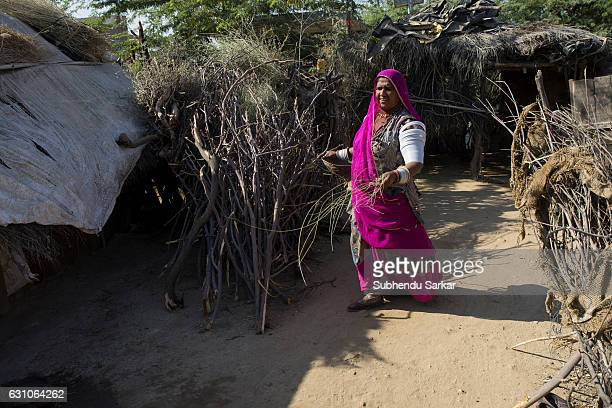 Rajasthani woman in traditional dress in a village