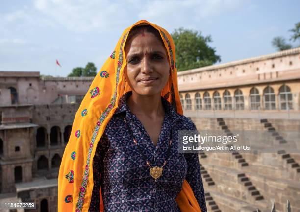 Rajasthani women in Chand Baori stepwell, Rajasthan, Abhaneri, India on July 14, 2019 in Abhaneri, India.