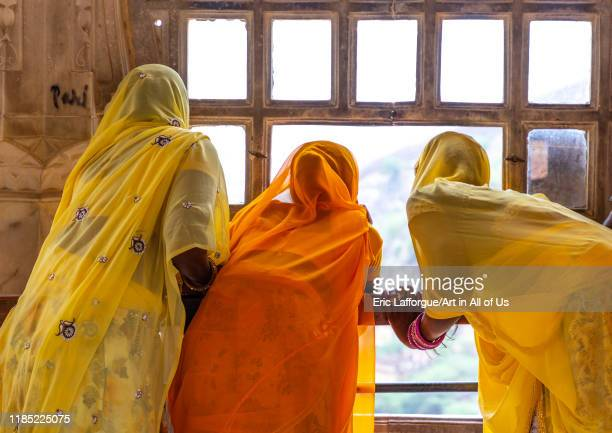 Rajasthani women in sari in Jaigarh fort Rajasthan Amer India on July 12 2019 in Amer India