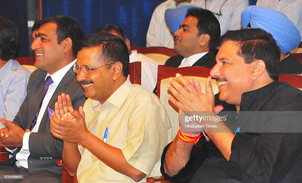 Rajat Gautam Chairmen Punjab Haryana High Court Bar Association Delhi Chief Minister Arvind Kejriwal and National Spokesperson Sanjay Singh during...