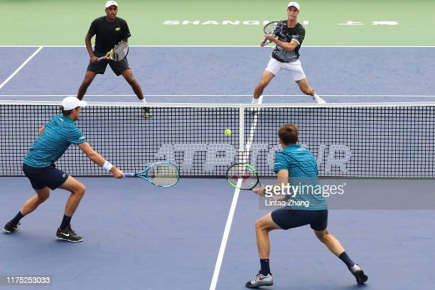 Rajeev Ram of the United States and Joe Salisbury of Great Britain in action during the 2019 Rolex Shanghai Masters Men's doubles Quarterfinal match...