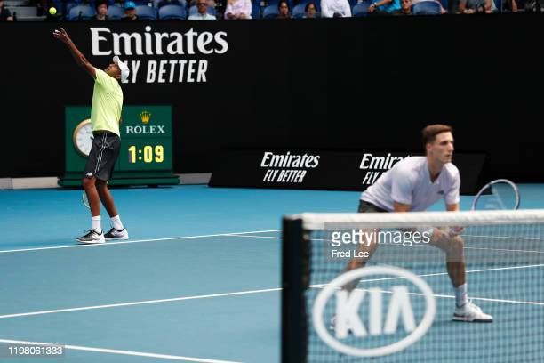 Rajeev Ram of the United States and Joe Salisbury of Great Britain in action during in their Men's Doubles Finals match against Max Purcell of...