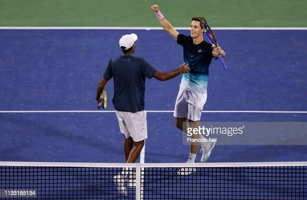 Rajeev Ram of the United States and Joe Salisbury of Great Britain celebrate their victory over Ben McLachlan of Japan and JanLennard Struff of...