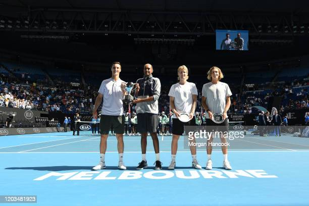 Rajeev Ram of the United States and Joe Salisbury of Great Britain and Max Purcell of Australia and Luke Saville of Australia pose during the trophy...