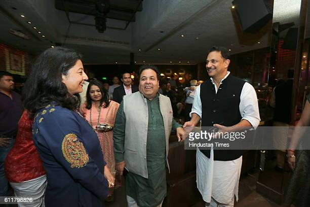 Rajeev Shukla Chairman of Indian Premier League and Union Minister Rajiv Pratap Rudy during a facilitation program organized for former Indian Women...